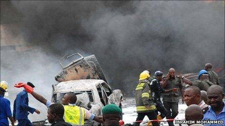 Scene of the Abuja police bombing (Photo from BBC Hausa listener Ibrahim Mohammed)