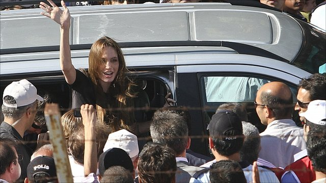 Angelina Jolie arrives at a camp on the Syria/Turkey border