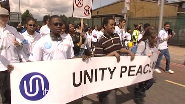 People taking part in the peace march in Enfield