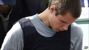 Colton Harris-Moore arrives at court in Nassau, Bahamas (July 2010)