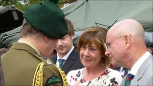 The Duke of York presenting the Elizabeth Cross to the parents of Ranger David Dalzell, Gordon and Susan