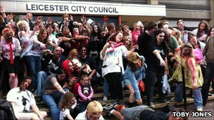'Zombies' outside Leicester City Council offices