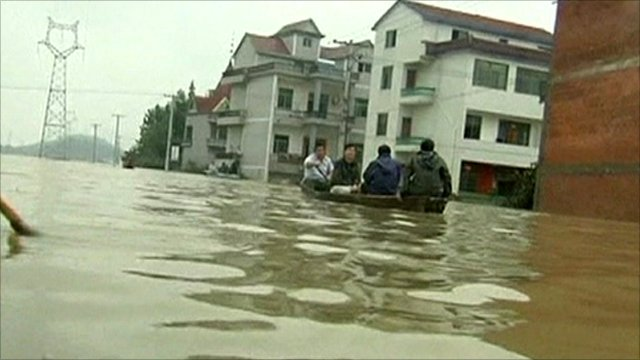 Flooded houses in China