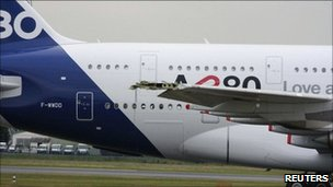 The damaged A380 at Le Bourguet airport