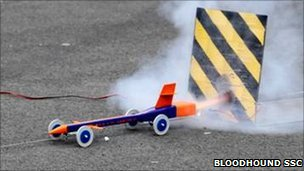 Model rocket-powered car (Bloodhound SSC)