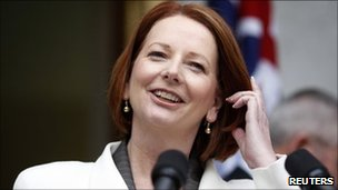 Australia's Prime Minister Julia Gillard speaks during a news conference (20 June)