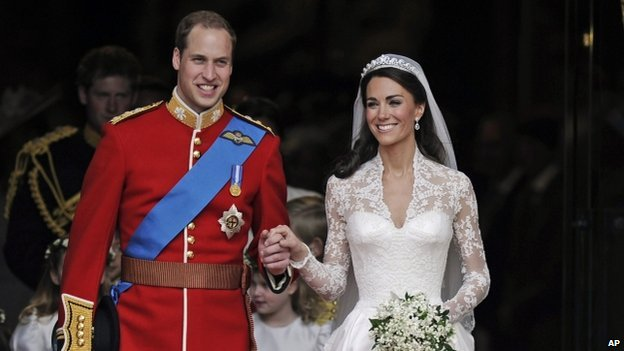 Prince William and Kate Middleton after their marriage