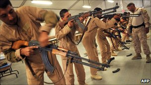 Afghanistan National Army (ANA) soldiers undergoing training