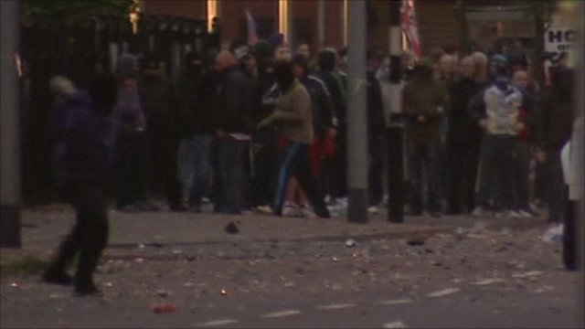 Masked men throwing missiles in east Belfast