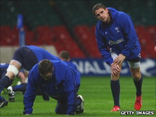Wales rugby players training