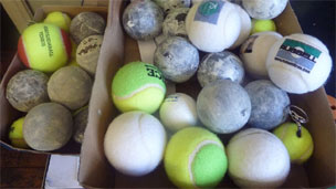 Mixed tennis balls in the Price factory