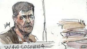 An artist's sketch shows Yvan Colonna  in court in Paris, 15 June 2011