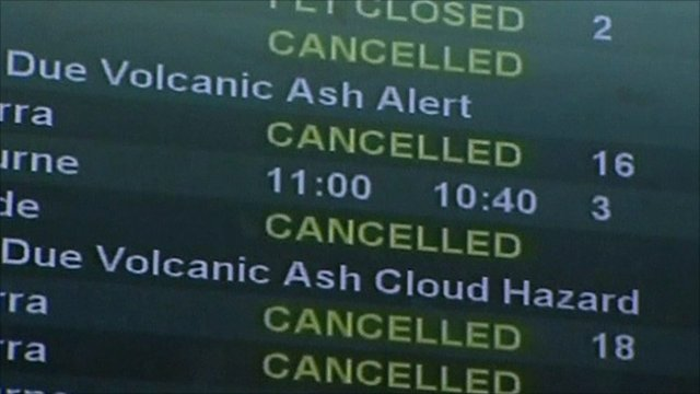 Airport notice-board highlighting cancelled flights