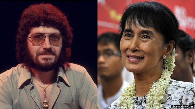 Dave Lee Travis and Aung San Suu Kyi