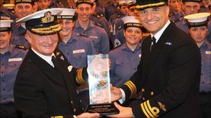 The Wigley Trophy presented to HMS Somerset