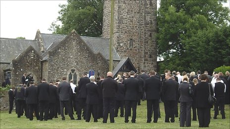 Mourners at the funeral of Andrew Jenkins at St David's Church, Hubberston