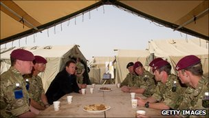 David Cameron and soldiers