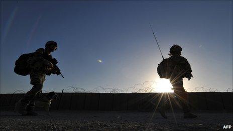 Soldiers in patrol in Helmand