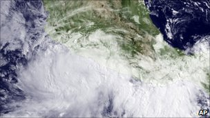Satellite image shows Hurricane Beatriz in Pacific Ocean close to Mexican coast