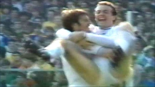 Alan Curtis celebrates scoring Swansea's fifth goal against Leeds United
