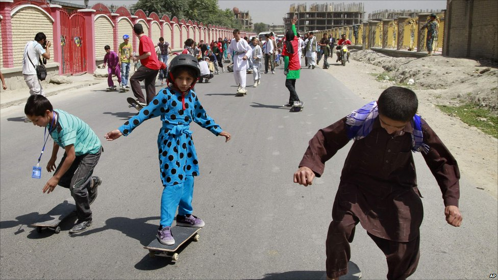 Children skateboarding in Kabul, Afghanistan