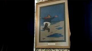The original Jolly Fisherman painting in Skegness Town Hall