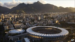 The centre of Rio de Janeiro, with the famous Maracana stadium in the foreground