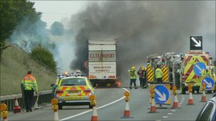 M4 lorry fire 21/06/2011