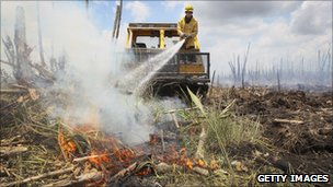 A firefighter attempts to put out a fire in northern Florida