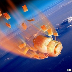 Artist impression of re-entry (Esa)