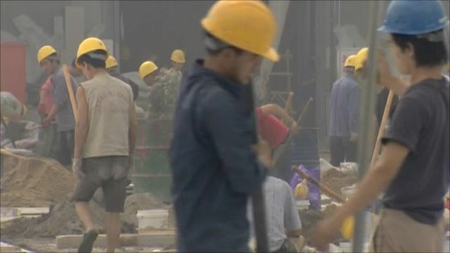 Construction workers in Tianjin, China