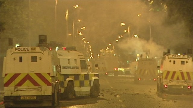 Police vehicles in the Newtownards Road-Short Strand area