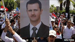 Pictures of President Assad during rally in Damascus
