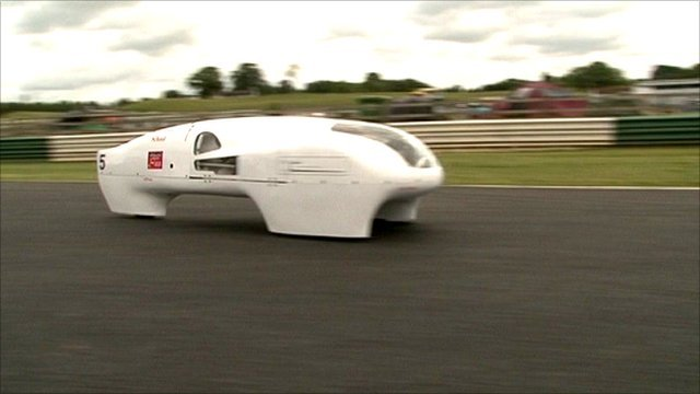 An eco-car is tested at the Mallory Park track in Leicestershire
