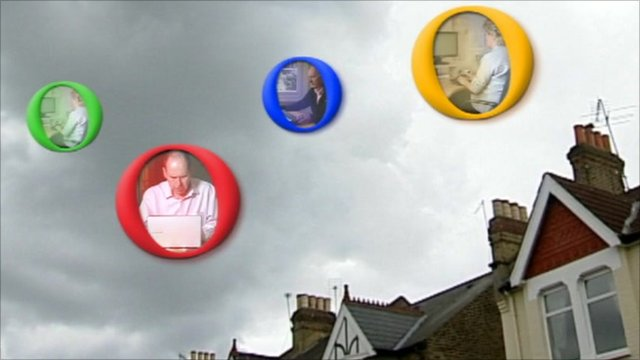 Internet users floating above houses in 'filter bubbles'