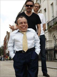 Warwick Davis, Ricky Gervais and Steve Merchant