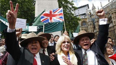 Ragprasad Purja (right) celebrating Joanna Lumley's victory in 2009