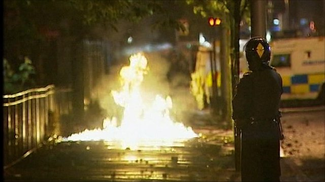Petrol bomb ignites behind police lines in Belfast