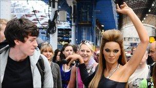 Waxwork of Beyonce at London's Paddington Station