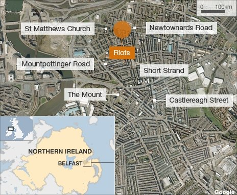 Map showing the location of the trouble in east Belfast
