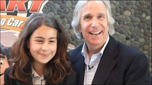 Izzy Papworth and Henry Winkler