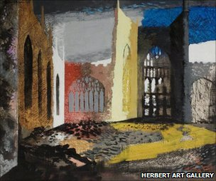 John Piper, Interior of Coventry Cathedral, 15 November 1940 ©Herbert Art Gallery