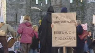 Protest in Caernarfon