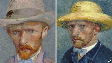 Vincent van Gogh's self portrait on the left and the painting of his brother Theo