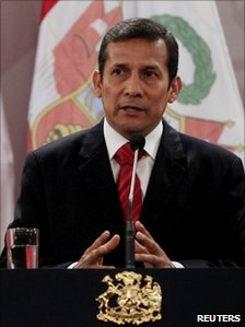 Peru's Ollanta Humala speaking on a visit to Chile