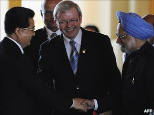 Kevin Rudd with Hu Jintao and Manmohan Singh, IN 2008