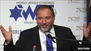 Israel's Foreign Minister Avigdor Lieberman at the annual meeting of the World Jewish Congress , 20 June 2011