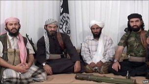 From left: Hurayrah Qasim al-Raymi, Said al-Shihri, Nasser al-Wuhayshi and Mohammed al-Awfi (January 2009)