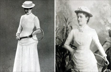 Maud Watson (left) who defeated her sister, Lilian 6/8 6/3 6/3 in the inaugural ladies championship final in 1884