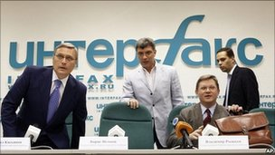 Russian opposition leaders, from the left: Mikhail Kasyanov, Boris Nemtsov, Vladimir Ryzhkov and Vladimir Milov, in Moscow, Russia, 23 May 2011.